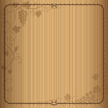 wine background: Decorative square frame with bunch of grapes, grape leaves, swirls on woody background. Wine list.