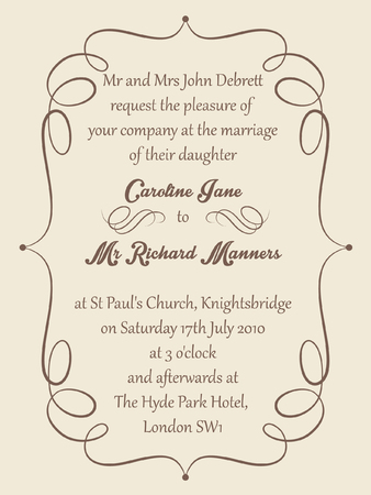 formal: Vignette frame on a cream background for a formal wedding invitation. Illustration