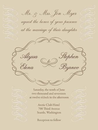 Vignette frame on a cream background for a formal wedding invitation.