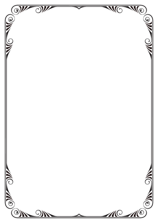 a4 borders: Decorative black frame. A4 page proportions. Illustration