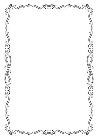 Decorative black frame. A4 page proportions. Illustration