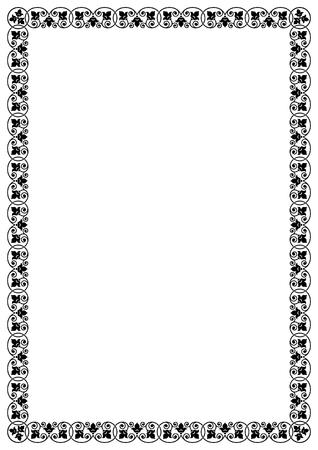 a4 borders: Decorative black frame. A 4 page format. Illustration