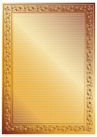 tangier: Decorative gold frame for certificate, diploma or photo; tangier grid.