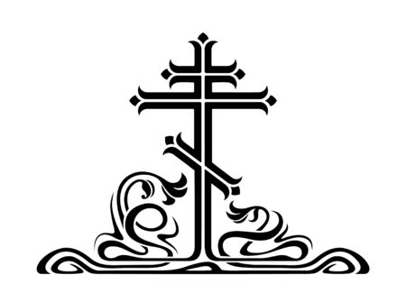artnouveau: Orthodox cross, crucifix with decorative elements. Art-nouveau style.