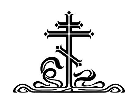 装飾的な要素を持つ正統派のクロス、十字架。アール ヌーボー様式。