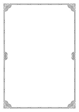 a4 borders: Black ornate border, A4 page size. Illustration