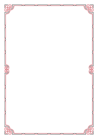 Decorative black and red frame. A4 page format. Illustration