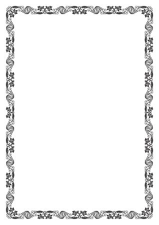 a4: Decorative black floral frame. A4 page format.