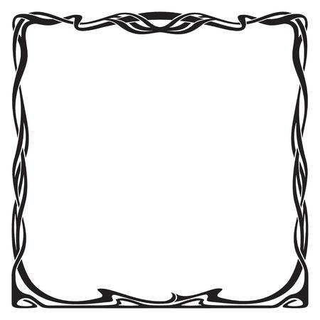artnouveau: Decorative black square frame in art-nouveau style. Illustration