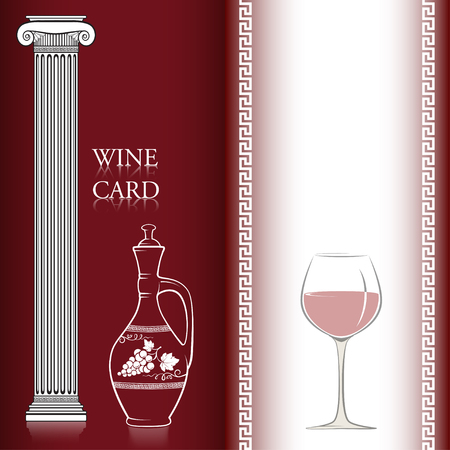 merlot: Template for a wine card, two pages, decorated with a wine jug, an ancient Greek column, a glass of red wine and a Greek traditional pattern. Pattern brush is included. Illustration