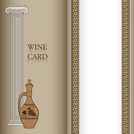 wine card: Template for a wine card decorated with wine jug, ancient Greek column, Greek traditional pattern. Pattern brush is included.
