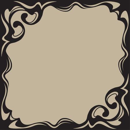 artnouveau: Black square frame, label. Art-nouveau style. Illustration