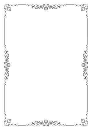 Decorative black rectangular text frame, A4 page format.