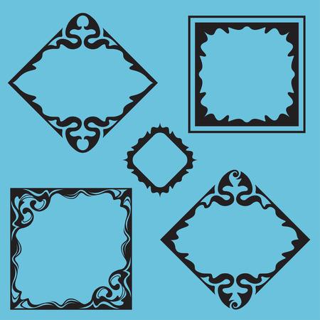 artnouveau: A set of black square frames, labels. Art-nouveau style.