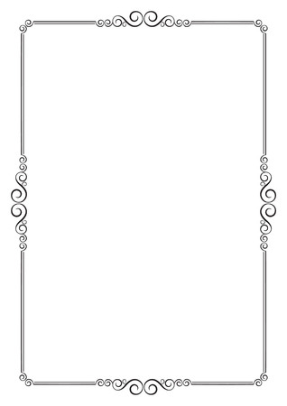 a4: Decorative black frame. A4 page format. Illustration