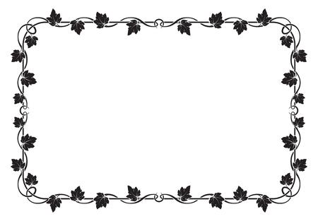black grape: Decorative black rectangular frame with grape leaves.