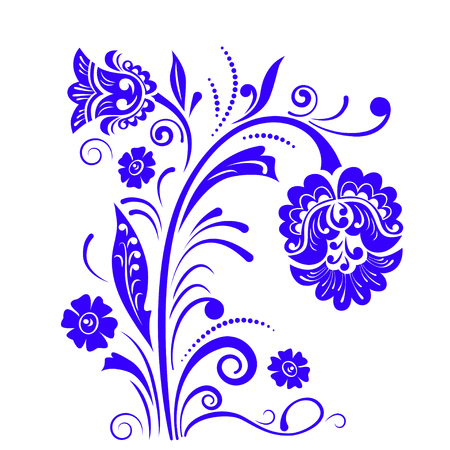 Abstract fancy flowers, stencil, decoration for card, window, door. Ilustracje wektorowe