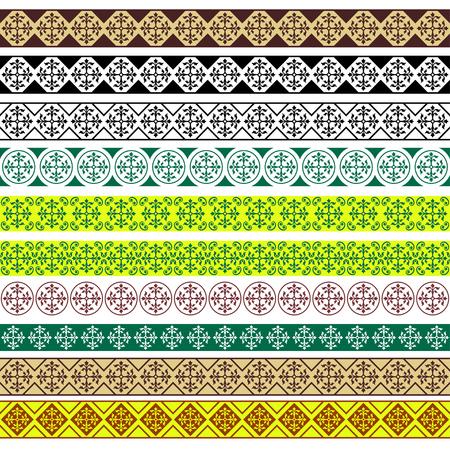Ensemble de bordures décoratives, style arabe. brosses de motifs pour les cadres rectangulaires sont inclus.