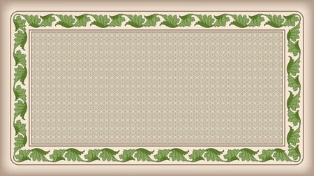tangier: Rectangular frame and background with tangier grid. The tangier grid swatch is included in EPS file. Illustration