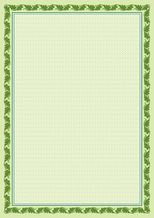 Decorative frame and background with tangier grid on A4 page. The tangier grid swatch is included in EPS file.