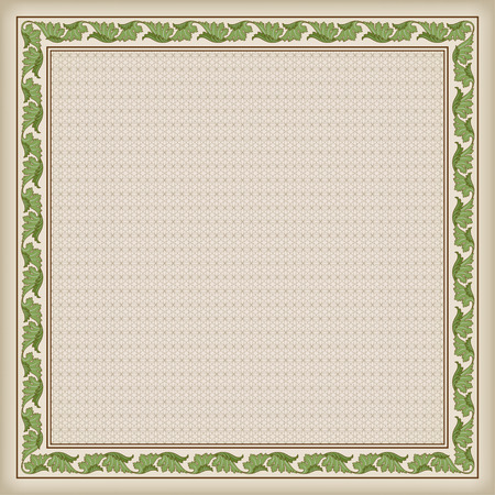 tangier: Decorative square frame and background with tangier grid. The tangier grid swatch is included in EPS file.