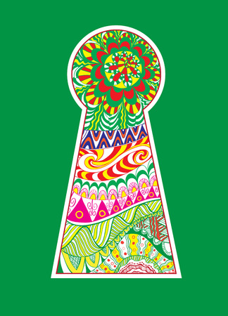 hand colored: Hand drawn doodle, zentangle in a shape of colored keyhole.