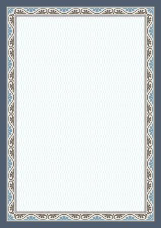 Decorative frame and background on A4 page. Vectores