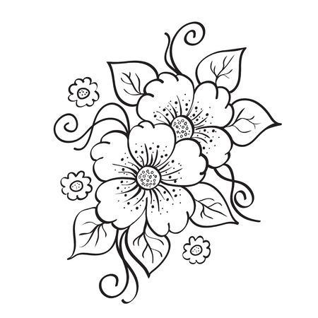 Abstract hand drawn flowers sketch stencil illustration