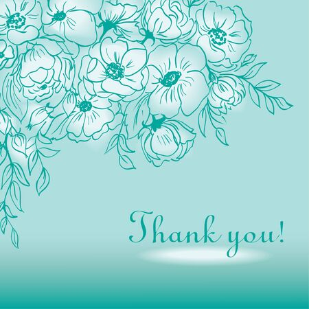 abstract flowers: Abstract flowers, Thank you card. Illustration