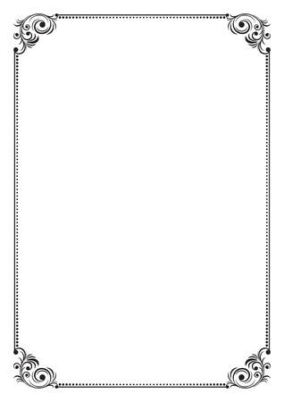Decoratieve zwarte grens op A4-pagina. Stock Illustratie