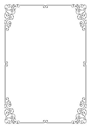 Decorative black border on A4 page.