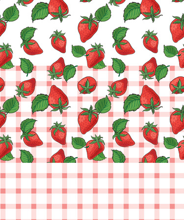 Strawberry and plaid seamless vector patterns. Swatches are included in the EPS file.
