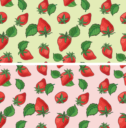 Strawberry seamless vector patterns. Swatches are included in the EPS file.