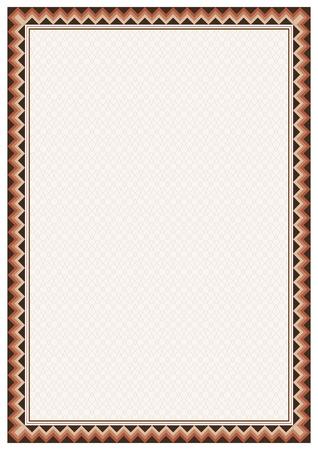 a4 borders: Border and texture in American Indians tribal style. Pattern brush is included in vector file. A4 page size. Illustration