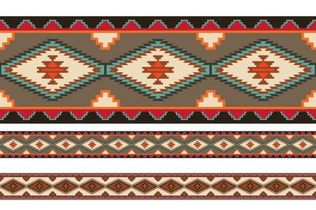 afghan: American Indians tribal blanket patterns. Pattern brushes are included in vector file.