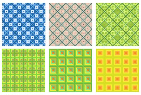 Set of seamless color geometric patterns. Pattern swatches are included in vector file. Illustration