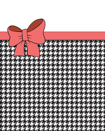 Pink ribbon on black and white geometric background, houndstooth pattern. Illustration
