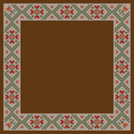 Decorative frame, cross-stitched embroidery imitation. Separated from background.
