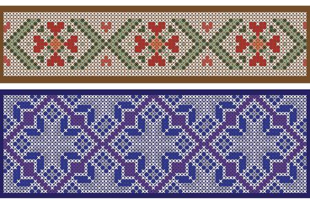 punto de cruz: patrones cinta sin costura, separados de fondo, la imitación de bordado de punto de cruz. Los pinceles de motivo se incluyen en el archivo vectorial.
