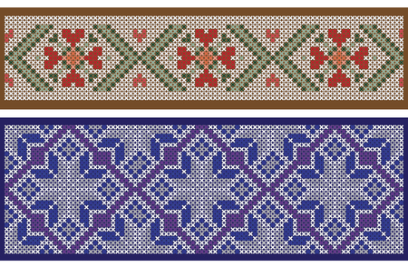 punto de cruz: Seamless ribbon patterns, separated from background, cross-stitch embroidery imitation. Pattern brushes are included in vector file. Vectores