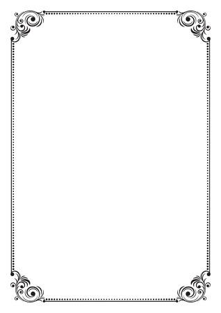 a4 borders: Decorative black frame, A4 size. Illustration