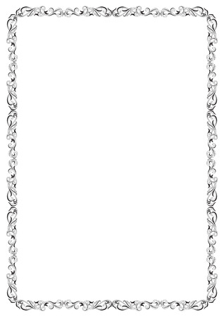 a4: Decorative black and white border. A4 size. Illustration