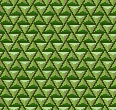 swatch: Seamless volumetric pyramidal pattern, tints of green. Pattern swatch is included in vector file.