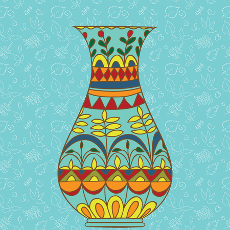Doodle Vase For Flowers Stained Glass Seamless Pattern On