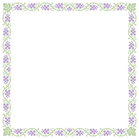 imitation: Decorative frame, grape pattern, cross-stitched embroidery imitation.