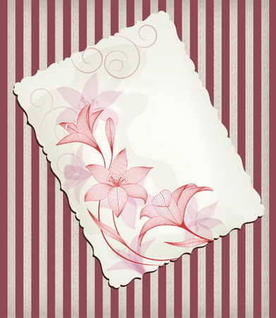 postal card: Postal card with wavy edges, retro pattern, abstract lily flowers, mixed style.
