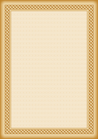 tangier: Decorative frame in Arabic style and background with tangier grid, template for certificate or diploma. A4 page size.
