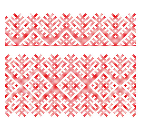 Seamless Russian folk patterns, cross-stitched embroidery imitation. Patterns consist of ancient Slavic amulets. Illustration