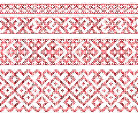 imitation: Seamless Russian folk patterns, cross-stitched embroidery imitation. Patterns consist of ancient Slavic amulets. Illustration