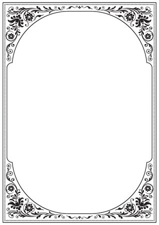 a4 borders: Ornate black frame with floral pattern. A4 page proportions. Old Russian style. Illustration